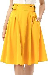 KANCY KOLE Jupe Plissee Femme Mi Longue Jupe Taille Haute Pin Up Vintage avec Ceinture Fixe KCS2091