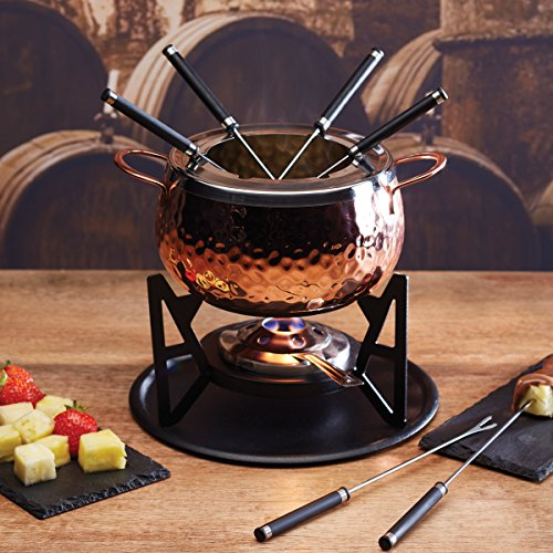 Artesa Hammered Copper Finish six, person Fondue Set, Stainless steel, Copper/Black