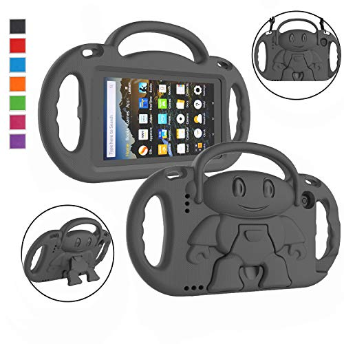 LTROP Kids Case for Fire 7 2019/2017 - Light Weight Shockproof Handle Friendly Kids Case with Kickstand & Shoulder Strap for All-New Kindle Fire 7 Tablet (9th /7th Generation) - Black