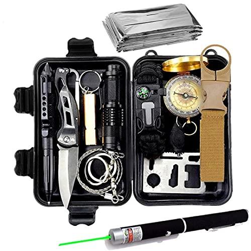 UKKD Kit de Supervivencia Juego 13-IN-1, Mini Herramientas de Camping de Viajes al Aire Libre, Regalos para Hombres, adecuados para familias, Senderismo, Camping y expediciones