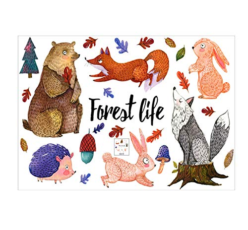 Dessin animé Animal Forêt Sticker Mural Salon Jungle Ours Fox Enfants Chambre de Bébé Pépinière Décor À La Maison Drôle Affiche