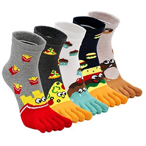 ZFSOCK Zehensocken Damen Baumwolle Five Finger Socken Bunt Sport Socken Zehen Einzeln Lustig Atmungsaktiv Laufen Socken 36-41, 5 Paare(4/7 Jahre)