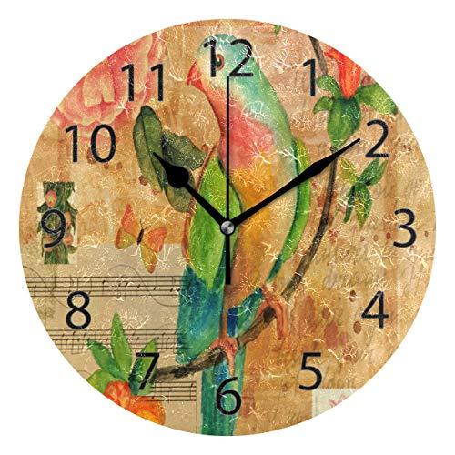 XiangHeFu Wandklok, Ronde 10 Inch Diameter Stille Muziek Letter Vogel Bloem Art Patroon Decoratief voor Home Office School