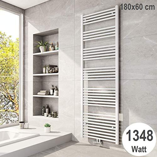Meykoers Badheizkörper 1800x600mm Handtuchtrockner 1348 Watt Weiß Bad Mittelanschluss Handtuchwärmer Heizung Heizkörper für Bad