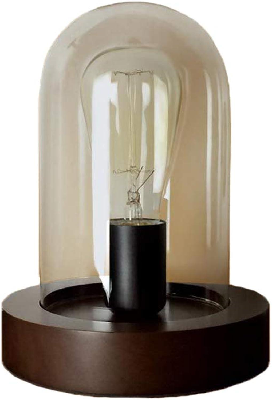 WXAN Retro Einfache Loft Edison Nostalgischen Schlafzimmer Nachttisch Cafe Bar Massivholz Glas Tischlampe