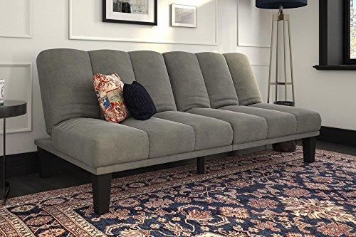 DHP Hamilton Estate Premium Futon Sofa Sleeper, Comfortable Plush Microfiber Upholstery, Rich Grey