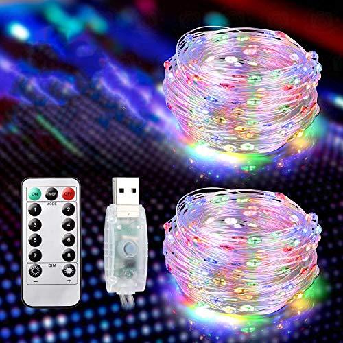 Brisun® - Cadena de luces LED de 15 m, 2 unidades, 150 ledes, USB, con 8 modos, luces de ambiente para habitaciones, interiores, exteriores, Navidad, fiestas, bodas, DIY, etc. multicolor