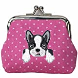 [ BOSTON TERRIER ] Cute Embroidered Puppy Dog Buckle Coin Purse Wallet [ Hot Pink Polka Dots ]