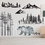 3 Sheets Polar Bear Wall Stickers Forest Wall...