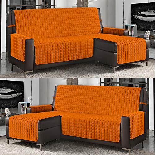 Banzaii Funda de Sofá Cubre Chaise Longue Acolchada Lisa 3 Plazas (240 cm) con Chaise Longue Izquierda/Derecha Naranja