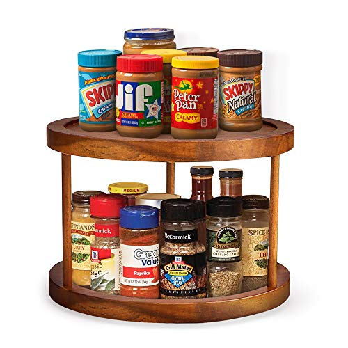 """Aidea Lazy Susan, Acacia Wood Lazy Susan Turntable Kitchen Pantry/Cabinet/Countertop , Rotating Turntable Organizer 2-Tier 10"""" Gift for Easter"""