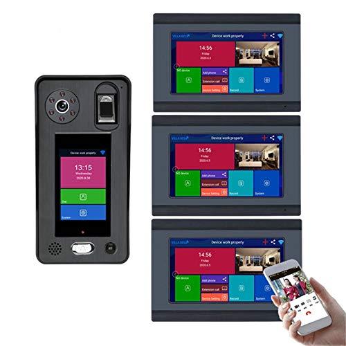 Timbre con video inalámbrico WiFi, monitor de 7 pulgadas + cámara de visión nocturna, videoportero con intercomunicador bidireccional, desbloqueo de la APP de huellas dactilares reconocimiento facial