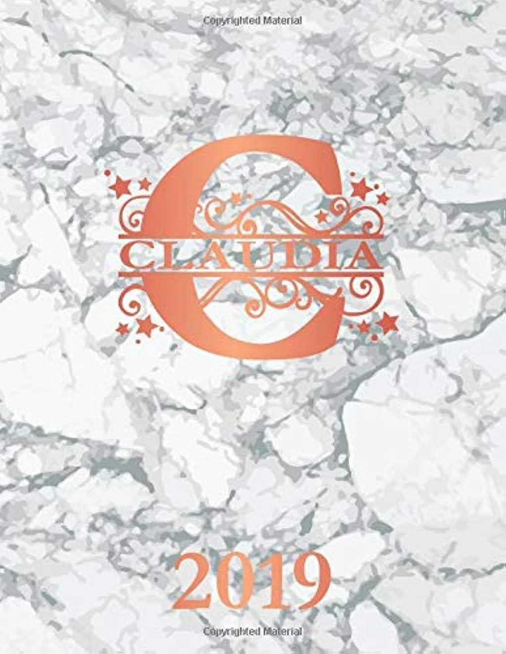 人生を作るレジ剃るClaudia 2019: Personalized Name Weekly Planner 2019. Monogram Letter C Notebook Planner. White Gray Marble & Rose Gold Cover. Datebook Calendar Schedule