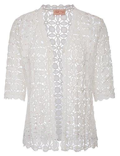 Women's Crochet Lace Cardigan Bolero for Party(L,White)