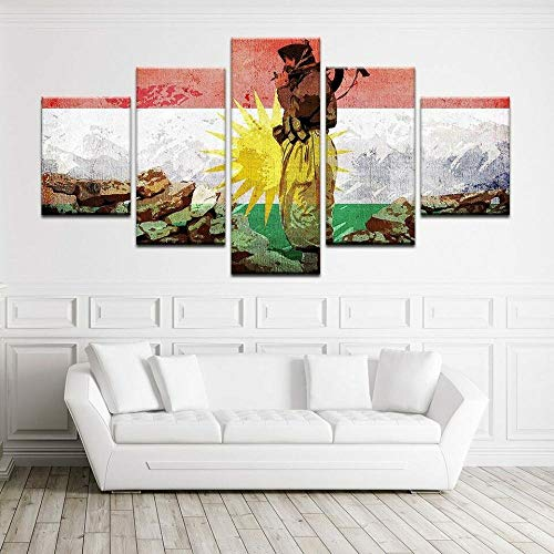 Yywife Bilder XXL 5 Teile wandbild leinwandbilder Kunstdrucke Kurdistan Flagge & Soldat XXL 5 Teiliges Wandbild Mit Rahmen Größe 150x80CM Leinwandbild Wandbilder Cadeau d'Halloween