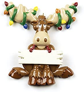 f968287ebb5dd Personalized Moose Christmas Ornament for Tree 2018 - Antlers Tangled in  Lights Fun Christmoose Holding a