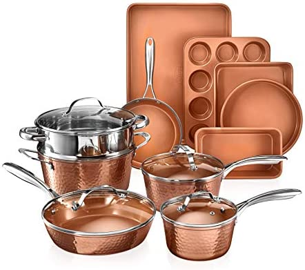 Gotham Steel Hammered Copper Collection 15 Piece Premium Cookware Bakeware Set with Nonstick product image