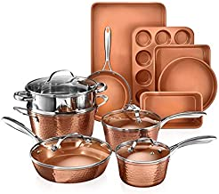 Gotham Steel Hammered Copper Collection – 15 Piece Premium Cookware & Bakeware Set with Nonstick Coating, Aluminum Composition– Includes Fry Pans, Stock Pots, Bakeware Set & More, Dishwasher Safe