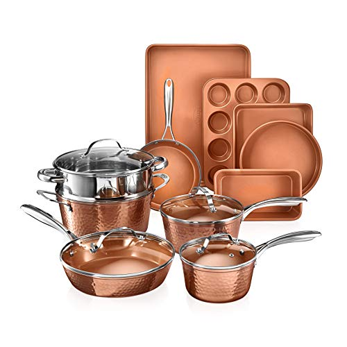Gotham Steel Hammered Copper Collection – 15 Piece Premium Cookware.