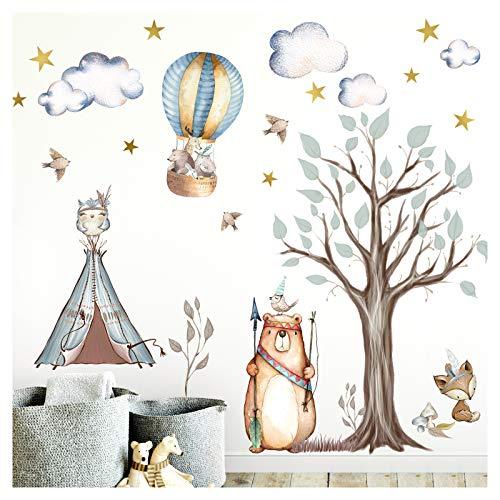 Little Deco Aufkleber Indianer Waldtiere I Wandbild M - 85 x 80 cm (BxH) I Zelt Sterne Wandsticker Kinder Wandtattoo Kinderzimmer Baby Deko Babyzimmer DL305