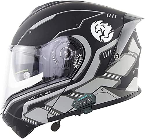 Casco de Motocicleta Integrado con Bluetooth, Casco de Motocicleta Integral con Tapa Modular, Certificación ECE Casco de Motocicleta Modular con Bluetooth Integrado para Hombres y Mujeres H, L