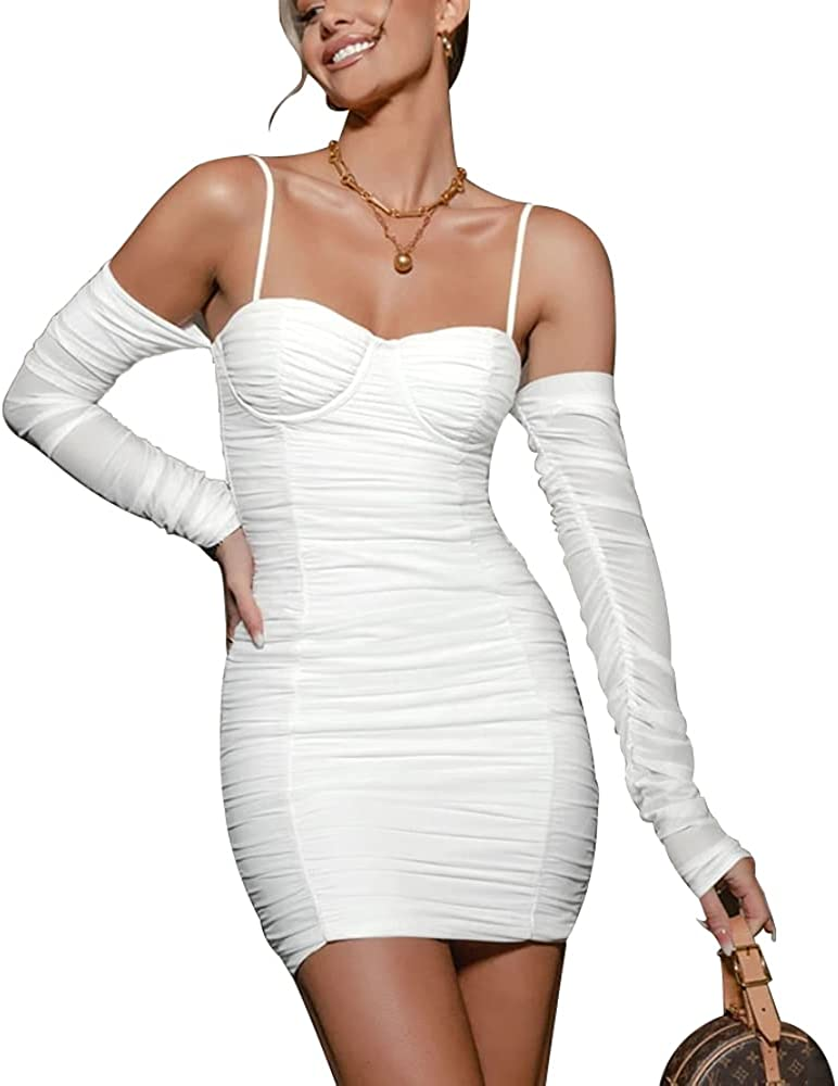 DREAM SLIM-Womens Sexy Knitted Bodycon Dress See-Through Mesh Sheer Puff Long Sleeve Club Party Cocktail Mini Dress