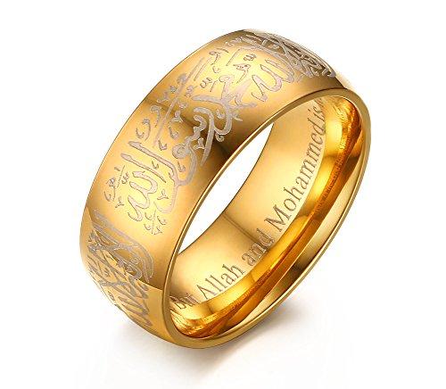 Joielavie - Anello da uomo in acciaio INOX placcato oro, con scritta 'Allah arabo, islamico, musulmano, slamico, shahada', per religione e Acciaio inox, 24,5, cod. JB17818207