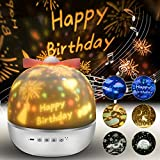 Lámpara Proyector Estrellas, 360° Rotación Músic Lampara con 6 Películas de Proyección, Proyector Bebe Lampara...