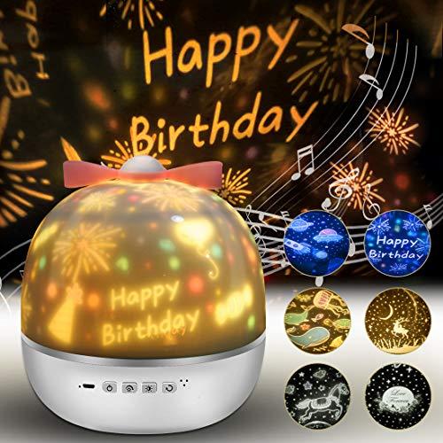 Lámpara Proyector Estrellas, 360° Rotación Músic Lampara con 6 Películas de Proyección, Proyector Bebe Lampara Bebe Romántica luz de la Noche Para BeBés Dormitorio Sala