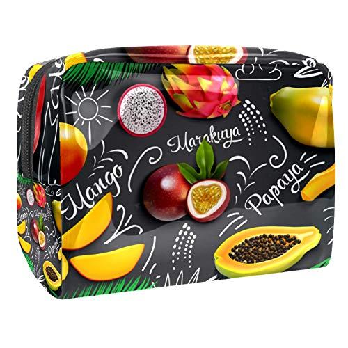Neceser de Maquillaje Estuche Escolar para Cosméticos Bolsa de Aseo Grande Composición de Pizarra de Frutas Tropicales