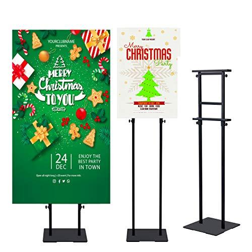 Heavy-Duty Base Adjustable Height Display Frame Billboard with Non-Slip Bottom Poster Holder Stand Signs Banner Stand,Height Adjustable up to 75inches Sign Holder