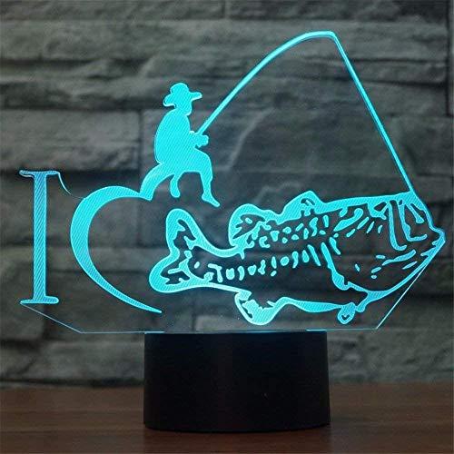 Creativa Pesca 3D ilusión LED noche lámpara niños noche luz dormitorio cumpleaños vacaciones Halloween regalo Ideas decoraciones para niños adolescentes novios