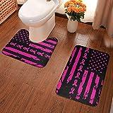 Lindsay Gosse Juego de alfombras de baño de 2 Piezas Bandera de Estados Unidos de concienciación sobre el cáncer de Mama Alfombras De Baño, Juegos De Contorno para Bañera, Ducha Y Baño