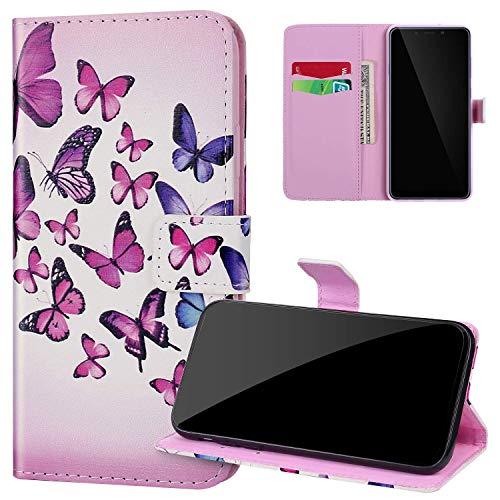 Coque Samsung Galaxy S10 en Cuir PU Pochette à Rabat Etui,JAWSEU Coloré Motif étui Portefeuille Magnétique Folio à Clapet Flip Case avec Porte Carte Coque pour Galaxy S10,Papillon