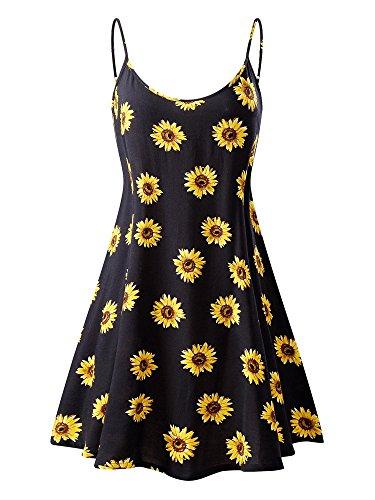 MSBASIC àrmelloses, verstellbares Riemchensommer Strand Swing Kleid für Damen 17147-2, Sonnenblume, M
