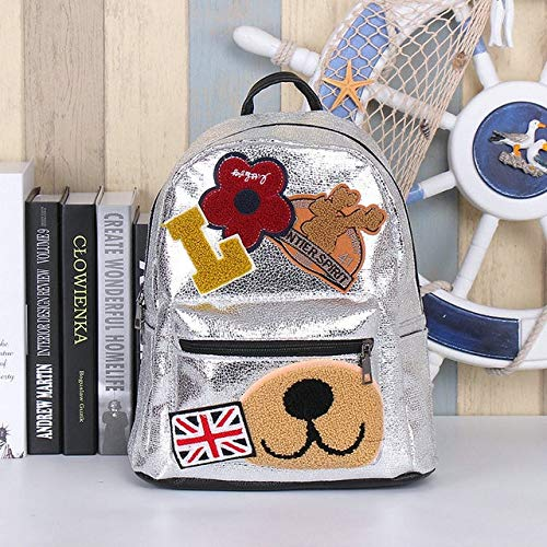 XTYZY Cute Patched Backpacks New Glitter Fashion Sequins Travel Rucksack Students Pu Shiny Leather Schoolbag