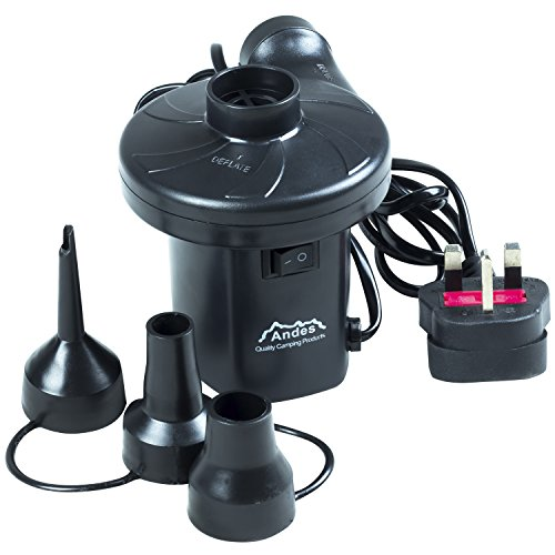 Andes Raptor 240V Electric Air Pump, Airbed Inflator with 3 Nozzle Adaptors, Inflates and Deflates for Garden, Home, Holiday, Camping