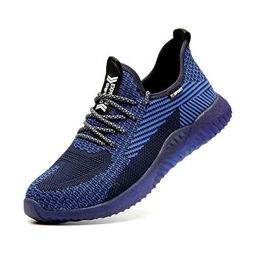 Zapatos de Seguridad para Hombre Transpirable Ligeras con Puntera de Acero Zapatillas de Seguridad Trabajo, Calzado de Industrial y Deportiva 37