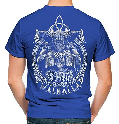 Sieg oder Walhalla Männer und Herren T-Shirt   Odin Wikinger Valhalla Geschenk   M1 FB (XXL, Blau)