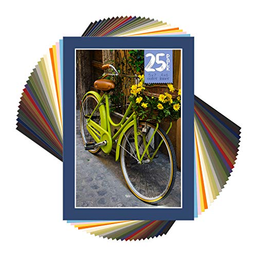 Golden State Art, Acid Free Pack of 25 Mix 5x7 Photo Mats Mattes Matting with White Core Bevel Cut for 4x6 Pictures in Premier