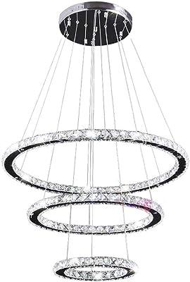 LXSEHN Candelabros Modernos De Cristal De 3 Anillos Candelabro De Techo para Sala De Estar Lámpara Suspendida De Cromo Lámpara Colgante Iluminación Colgante Lámparas linternas