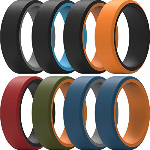 ThunderFit Silicone Rings for Men 8 Rings - Flat Top Angled Edge Two Layer Rubber Wedding Bands 9.8mm Wide - 2mm Thick (9.5-10 (19.8mm))