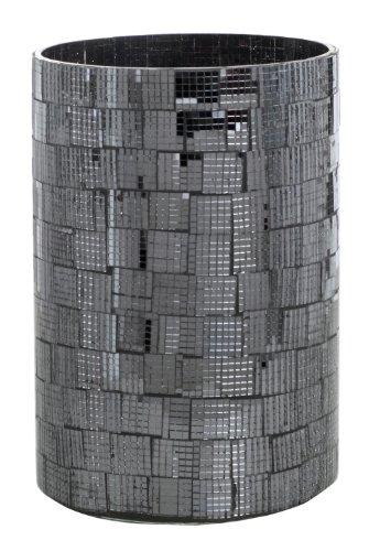 Homescapes – Photophore Mosaïque en Verre – Noir – 10 x 15.5 cm – Base en Verre et en Acier Poli – Bougeoir Bougie Chauffe-plat ou Bougie Pilier