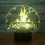 Happy Halloween Gifts Color Vision Castle Bat Night Lights Lámparas de Mesa Decoración del hogar Decoración de Vacaciones Lámparas
