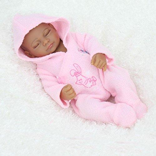 TERABITHIA 11 Zoll Mini Schwarz Nette lebendige Neugeborene Schlafende Baby Puppen Silikon Ganzkörper Afroamerikaner Waschbar für Mädchen