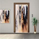 Native American ONE Piece Door Stickers,Blur Mystic Painting of Young Native Man Ethnic Feather with Wolves Ancient Decorative 28x80' Peel & Stick Removable Wall Mural,Decal,Poster for Door/Wall/Fridg