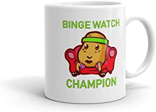 Funny Humor Novelty Binge Watch Champion TV Couch Potato 11oz Ceramic Coffee Tea Mug Cup