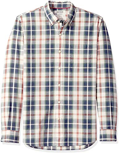 Amazon Brand - Goodthreads Men's Standard-Fit Long-Sleeve Chambray Shirt, Green/Ivory Plaid, X-Large