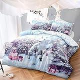 Sleepdown Juego de Funda de edredón y Funda de Almohada para Cama Doble, diseño de Unicornio durmiendo