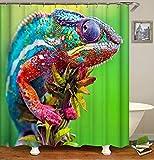 Chickwin Duschvorhang Wasserdicht Anti-Schimmel 3D Tier Drucken Polyester Bad Vorhang mit 12 Duschvorhangringe für Badezimmer Decor (180x200cm,Mehrfarbiges Chamäleon)